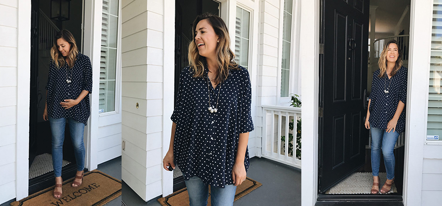 The Camille Necklace in Grey + Madewell Maternity Jeans Review