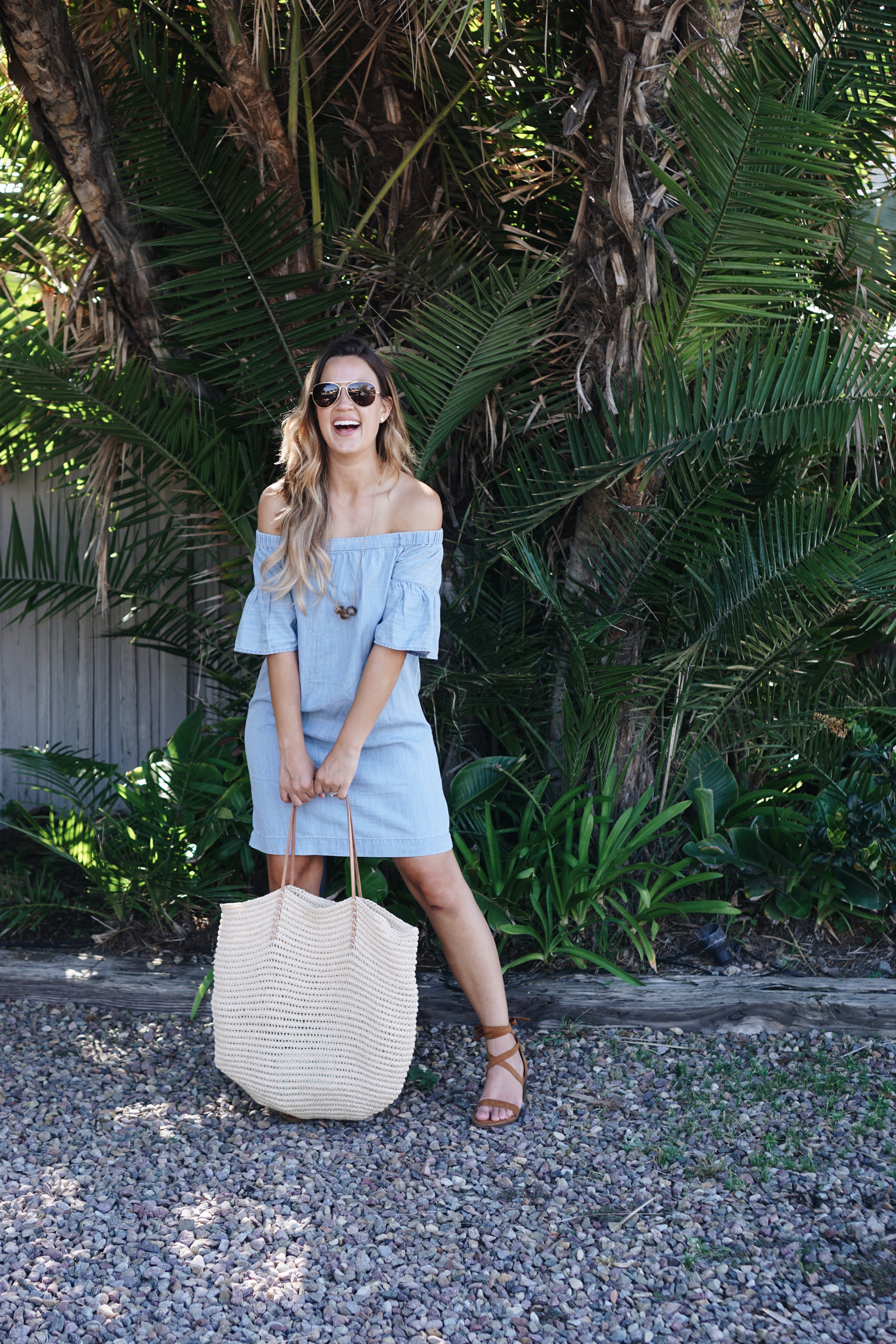 21f4b4856aa3 Today I m showing you how I styled it for summer weather with my newest off-shoulder  dress sent over from Madewell—the denim Azalea dress.