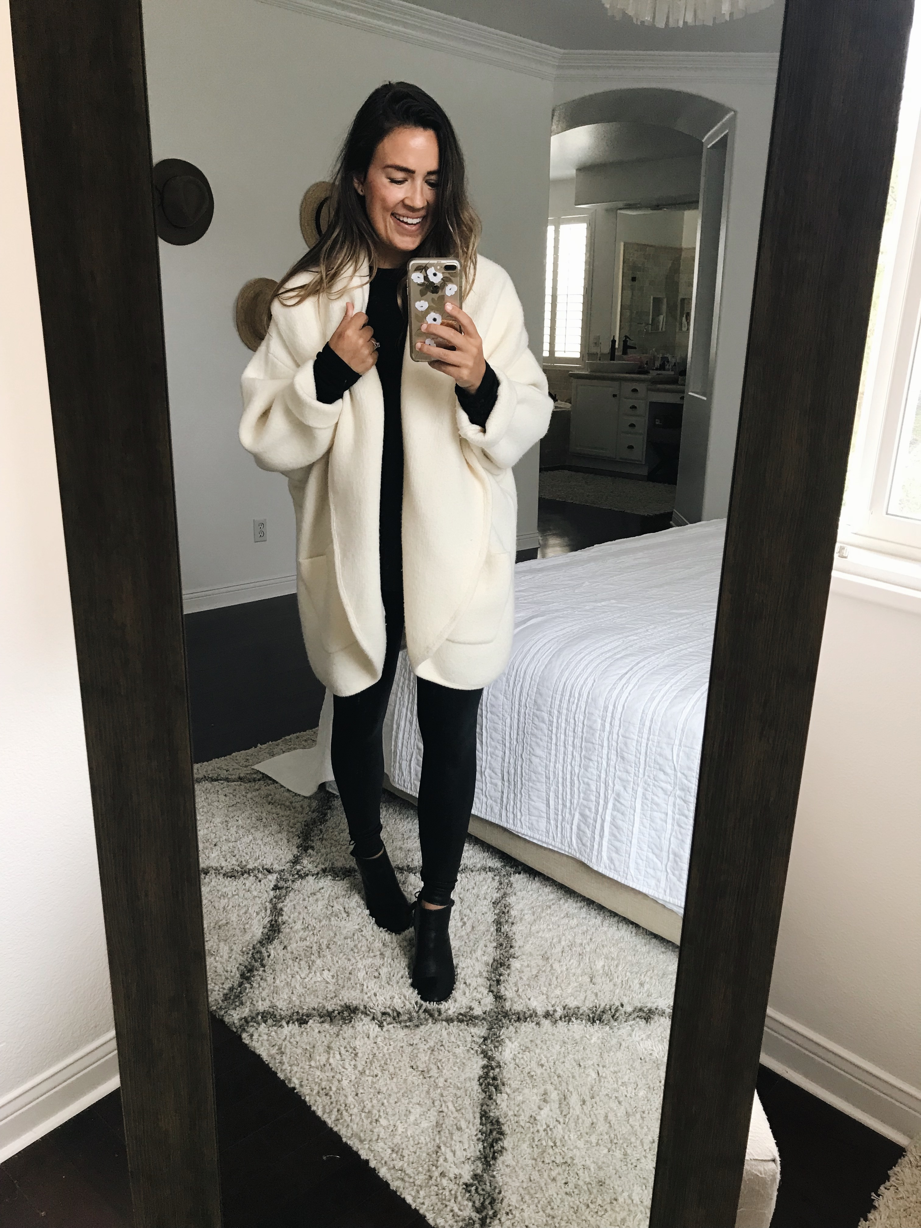 15a35c08193 Spanx leggings   Black top   Similar ankle boots   Similar white cardigan  (this is the Hygge cardigan from Anthro last year for those of you who ...