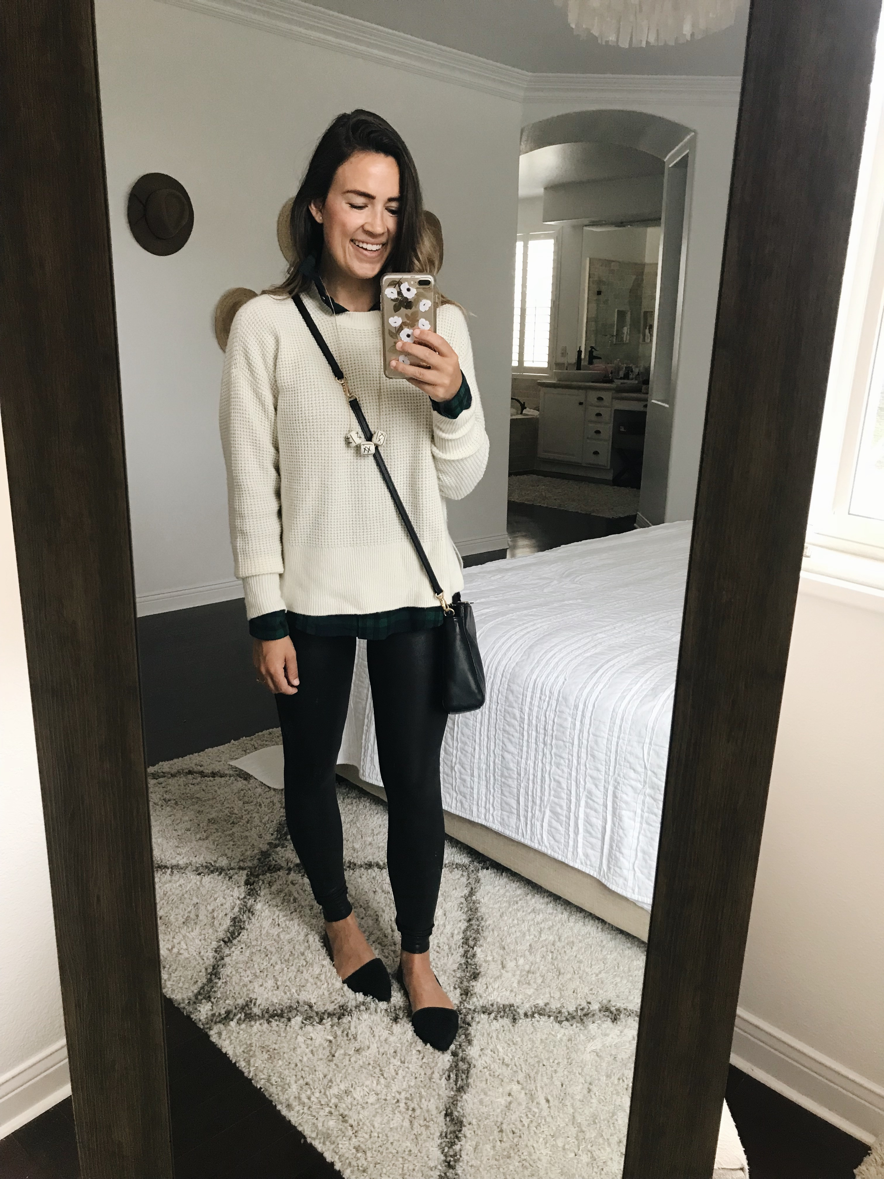 48fef203b3550 A cozy, everyday outfit for fall or winter. Spanx leggings / White sweater  / Similar flannel button down / Necklace / Similar black flats / Stud  earrings ...