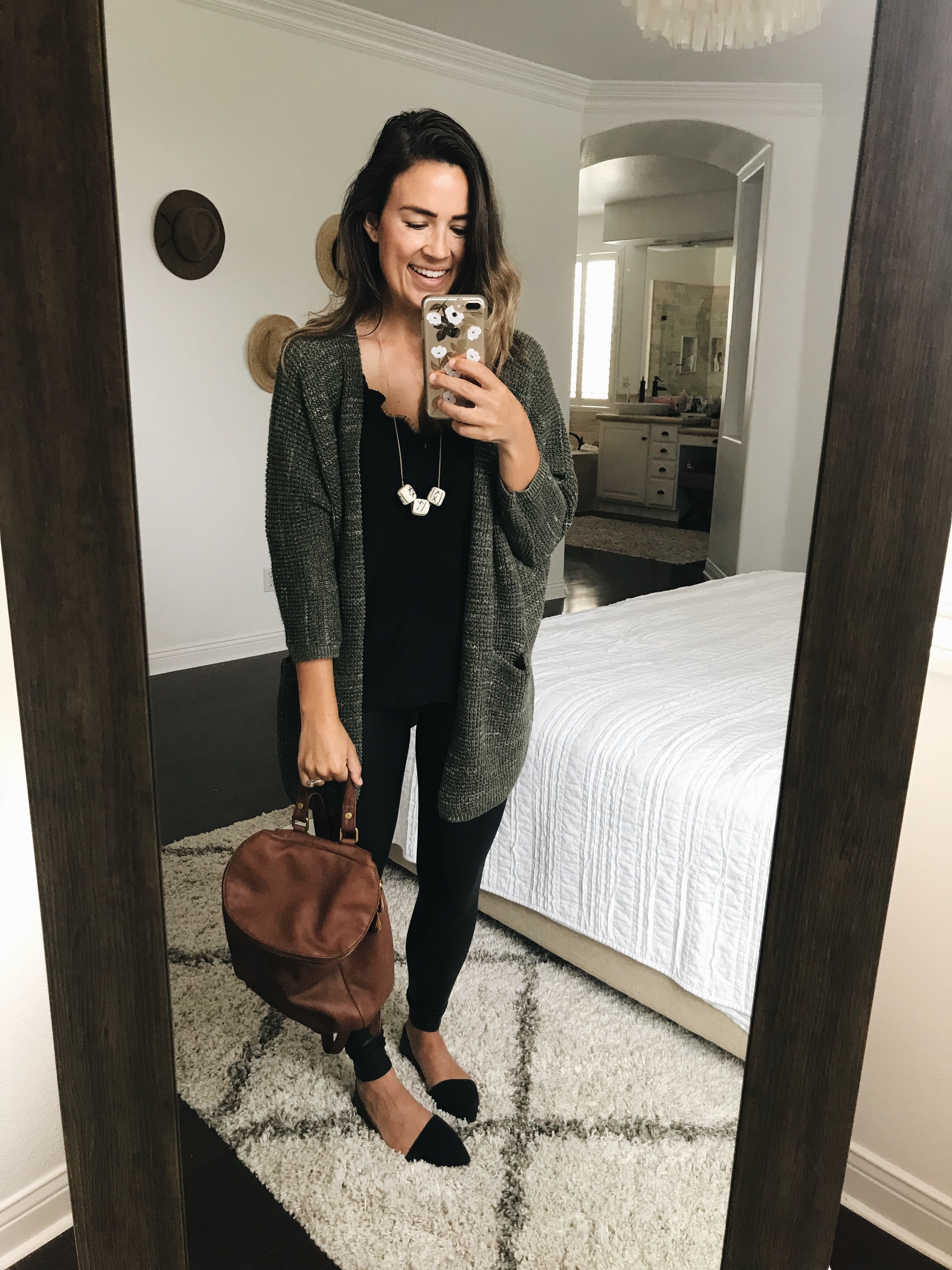954f2fcdc214e Spanx leggings / Necklace / Lace cami / Olive cardigan (darker in person  than it appears online!) / Similar black flats / Backpack (c/o) / Stud  earrings